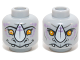 Part No: 3626cpb1087  Name: Minifigure, Head Dual Sided Alien Chima Rhinoceros with Orange Eyes, Purple Markings and White Horn, Neutral / Happy Pattern (Rinona) - Hollow Stud