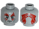 Part No: 3626cpb1165  Name: Minifigure, Head Dual Sided Dark Bluish Gray Cheek Lines, Red Tattoos on Front and Back Pattern - Hollow Stud
