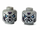 Part No: 3626cpb1185  Name: Minifigure, Head Dual Sided Alien Chima Tiger with Fangs, White Face Fur and Light Blue Eyes, Smile / Angry Pattern (Sykor) - Hollow Stud