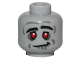 Part No: 3626cpb1436  Name: Minifigure, Head Alien Zombie, Red Eyes, Black Eyebrows, Silver Lines, Crooked Smile Pattern - Hollow Stud