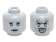 Part No: 3626cpb1465  Name: Minifigure, Head Dual Sided Female Gray Eyebrows, Eyes, Lips with Sad / Open Mouth Angry with Lines Pattern (Weeping Angel) - Hollow Stud