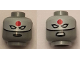 Part No: 3626cpb1619  Name: Minifigure, Head Dual Sided Female Mask White with Red Sun on Forehead and Black Lips, Stern / Angry Pattern (Katana) - Hollow Stud