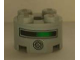 Part No: 3941pb03  Name: Brick, Round 2 x 2 with Axle Hole with Black and Green Line and Round Speaker Pattern (Sticker) - Set 4981
