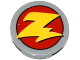Part No: 4150pb062  Name: Tile, Round 2 x 2 with Yellow 'Z' (Zurg Logo) Pattern