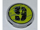 Part No: 4150pb090R  Name: Tile, Round 2 x 2 with Splatters and Black '9' on Lime Backgound Pattern Model Right Side (Sticker) - Set 8708