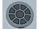 Part No: 4150pb119  Name: Tile, Round 2 x 2 with Dark Bluish Gray Fan Pattern (Sticker) - Set 7965