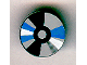 Part No: 4150px35  Name: Tile, Round 2 x 2 with CD White, Black / Dark Gray, Gray, Blue Sectors Pattern (Compact Disc)