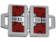 Part No: 4449pb04  Name: Minifigure, Utensil Briefcase with Dark Red and Silver Metal Plates Pattern on Both Sides (Stickers) - Set 76007