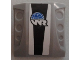 Part No: 44675pb013  Name: Slope, Curved 2 x 2 with 3 Side Ports Recessed with Globe and White 'WR' World Racers Logo and Black Stripe Pattern (Sticker) - Set 8863