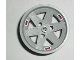 Part No: 44772pb01  Name: Wheel 56mm D. x 34mm Technic Racing Medium, 3 Pin Holes with 3 Red 'BBS' Pattern (Stickers) - Set 8386