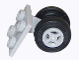 Part No: 4870c07  Name: Plate, Modified 2 x 2 Thin with Dual Wheels Holder - Split Pins with Light Bluish Gray Wheels and Black Tires (4870 / 4624 / 59895)