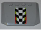 Part No: 52031pb041  Name: Wedge 4 x 6 x 2/3 Triple Curved with Checkered Pattern with Red and Lime Border (Sticker) - Set 4433