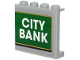 Part No: 60581pb137  Name: Panel 1 x 4 x 3 with Side Supports - Hollow Studs with White 'CITY BANK' on Green Background with Gold Outline Pattern (Sticker) - Set 60245