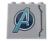 Part No: 60581pb142L  Name: Panel 1 x 4 x 3 with Side Supports - Hollow Studs with Metallic Light Blue Avengers Logo and Six Rivets Pattern Model Left Side (Sticker) - Set 76143