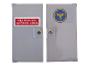 Part No: 60616pb045  Name: Door 1 x 4 x 6 with Stud Handle with 'RESTRICTED ACCESS AREA' on Red Background and Circle with Eagle Pattern on Both Sides (Stickers) - Set 76157