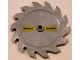 Part No: 61403pb03  Name: Technic Circular Saw Blade 9 x 9 with Pin Hole and Teeth in Same Direction with Russian 'ОПАСНОСТb' on Left and Right Pattern (Stickers) - Set 7626