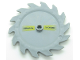 Part No: 61403pb03R  Name: Technic, Circular Saw Blade 9 x 9 with Pin Hole and Teeth in Same Direction with Cyrillic Characters 'ОПАСНОСТb' (OPASNOSTB) Pattern Model Right Side (Stickers) - Set 7626