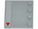 Part No: 6179pb093L  Name: Tile, Modified 4 x 4 with Studs on Edge with Red Triangle at Corner Pattern Model Left Side (Sticker) - Set 75082