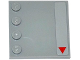 Part No: 6179pb093R  Name: Tile, Modified 4 x 4 with Studs on Edge with Red Triangle at Corner Pattern Model Right Side (Sticker) - Set 75082