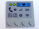 """Part No: 6179pb139  Name: Tile, Modified 4 x 4 with Studs on Edge with """"15:01"""" and Phone, Volume, Signal, Battery, Settings and Wifi Symbols Pattern (Sticker) - Set 41346"""