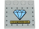 Part No: 6179pb173  Name: Tile, Modified 4 x 4 with Studs on Edge with 'DIAMOND CO.' on Gold Plate, Medium Blue Diamond and Rivets Pattern (Sticker) - Set 60243