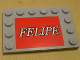 Part No: 6180pb020  Name: Tile, Modified 4 x 6 with Studs on Edges with 'FELIPE' Pattern (Sticker) - Set 8155
