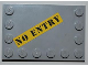 Part No: 6180pb046  Name: Tile, Modified 4 x 6 with Studs on Edges with Black 'NO ENTRY' on Yellow Background Pattern (Sticker) - Set 8199