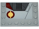 Part No: 6180pb087L  Name: Tile, Modified 4 x 6 with Studs on Edges with SW Jedi Interceptor and Dark Red SW Semicircles Pattern Model Left Side (Sticker) - Set 75135