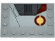 Part No: 6180pb087R  Name: Tile, Modified 4 x 6 with Studs on Edges with SW Jedi Interceptor and Dark Red SW Semicircles Pattern Model Right Side (Sticker) - Set 75135