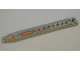Part No: 62743pb005  Name: Plate, Modified 2 x 16 with Angled Side Extensions and Axle Hole (Rotor Blade) with Orange and Yellow Stripe Pattern (Sticker) - Set 70327