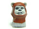 Part No: 64805pb01  Name: Minifigure, Head Modified SW Ewok with Reddish Brown Hood with White Tooth Pattern