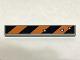 Part No: 6636pb098  Name: Tile 1 x 6 with Black and Orange Danger Stripes and 3 Bullet Holes Pattern (Sticker) - Set 6864