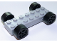 Part No: 85559c02  Name: Vehicle, Base Fast Food Racer 2 x 7 x 2/3 with Black Spoked Wheels, Slicks
