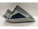 Part No: 87616pb016  Name: Aircraft Fuselage Curved Aft Section 6 x 10 Bottom with Dark Blue Trapezoid and Aurebesh 'POLICE' on Light Bluish Gray Background Pattern on Both Sides (Stickers) - Set 75046