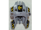 Part No: 87820pb05  Name: Hero Factory Shield Type 1 with Fist Facing Left and Black and Yellow Danger Stripes Pattern (Stickers) - Set 7157