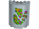 Part No: 87926pb007  Name: Cylinder Half 3 x 6 x 6 with 1 x 2 Cutout with Yellow and Pink Flowers and Green Leaves Pattern (Sticker) - Set 41065