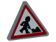 Part No: 892pb029  Name: Road Sign 2 x 2 Triangle with Clip with Minifigure Worker Shoveling and 1 Pile Pattern (Sticker)