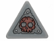 Part No: 892pb033  Name: Road Sign 2 x 2 Triangle with Clip with Worn Metal Plate and Skull Pattern (Sticker) - Set 70829