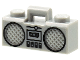 Part No: 93221pb03  Name: Minifigure, Utensil Radio Boom Box with Handle with Black Cassette Player, Switches and Rimmed Speakers Pattern