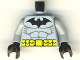 Part No: 973pb0182c01  Name: Torso Batman Logo with Muscles and Yellow Belt Pattern / Light Bluish Gray Arms / Black Hands