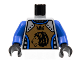 Part No: 973pb0346c01  Name: Torso Castle Knights Kingdom II Lion with Crown Pattern / Blue-Violet Arms / Black Hands