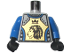 Part No: 973pb0346c02  Name: Torso Castle Knights Kingdom II Lion with Crown Pattern / Blue Arms / Black Hands