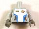 Part No: 973pb0494c01  Name: Torso Space Star Justice Gold Badge Pattern (Sticker) / Light Bluish Gray Arms / Dark Bluish Gray Hands
