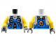 Part No: 973pb0550c01  Name: Torso Power Miners Blue Vest with Tools over Sweaty Shirt Pattern / Yellow Arms / Dark Bluish Gray Hands