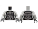 Part No: 973pb0616c01  Name: Torso Power Miners Silver Body Armor Front and Back, Drill on Upper Left Pattern / Light Bluish Gray Arms / Dark Bluish Gray Hands