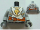 Part No: 973pb1146c01  Name: Torso Castle Kingdoms Gold Lion Head Front, 2012 The LEGO Store Wauwatosa, WI Back Pattern / Light Bluish Gray Arms / Dark Bluish Gray Hands