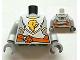Part No: 973pb1174c01  Name: Torso Castle Kingdoms Gold Lion Head Front, 2012 The LEGO Store Woodlands, TX Back Pattern / Light Bluish Gray Arms / Dark Bluish Gray Hands