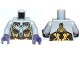 Part No: 973pb1203c01  Name: Torso Alien with Gold, Dark Brown and Silver Armor Pattern / Light Bluish Gray Arms / Dark Purple Hands