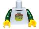 Part No: 973pb1218c01  Name: Torso Stylized Digital Minifigure Head Pattern / Dark Green Arms / Yellow Hands