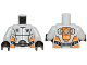 Part No: 973pb1267c01  Name: Torso Galaxy Squad Robot with Wide Black Belt and Orange Plates on Sides Pattern / Light Bluish Gray Arms / Black Hands